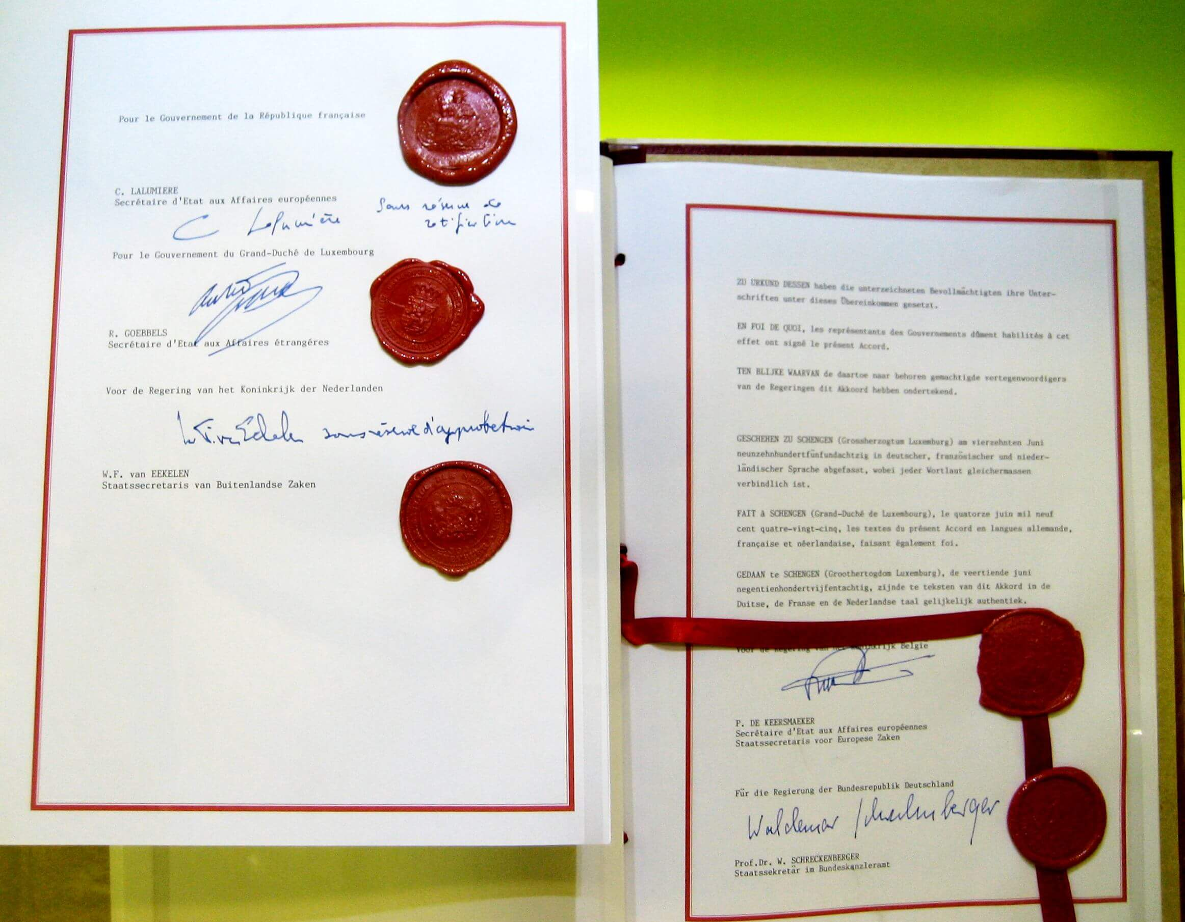 An image showing the signed original Schengen Agreement