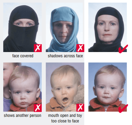 Glasses and head covering guidance